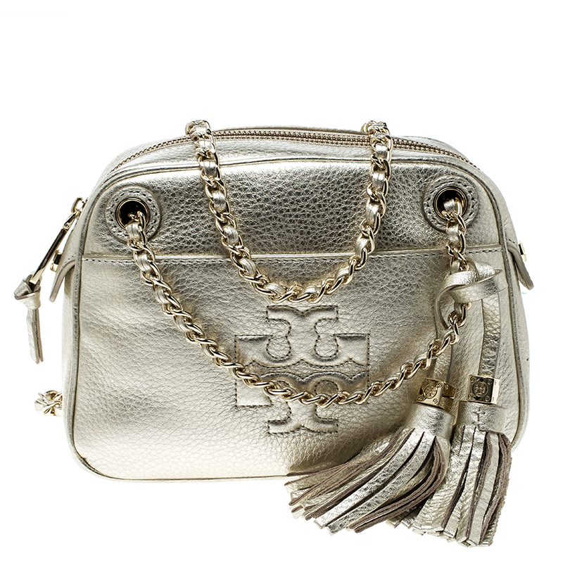 f4ffdb9eaa ... Tory Burch Metallic Gold Leather Thea Chain Crossbody Bag. nextprev.  prevnext