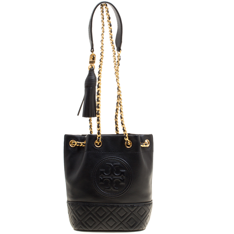 7914425465c7 ... Tory Burch Black Leather Mini Fleming Bucket Shoulder Bag. nextprev.  prevnext