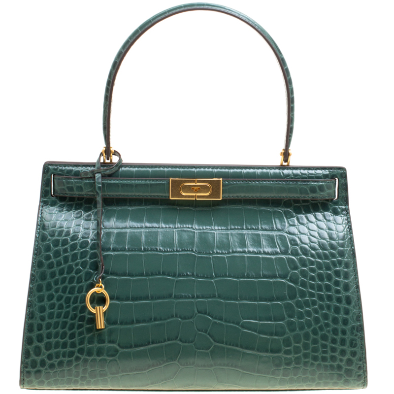 beeb27830a03 ... Tory Burch Green Croc Embossed Leather Lee Radziwill Satchel. nextprev.  prevnext