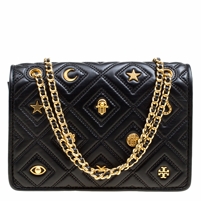 f08b30957e1 ... Tory Burch Black Leather Small Farida Fleming Charm Shoulder Bag.  nextprev. prevnext