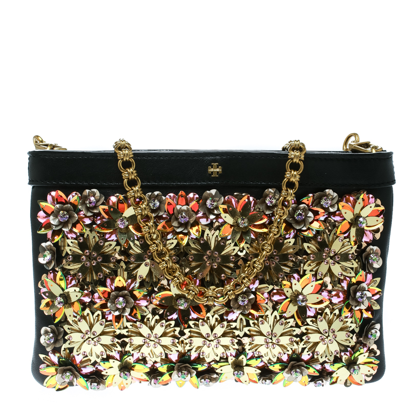 Tory Burch Black/Multicolor Leather and Sequin Floral Embellished Clutch