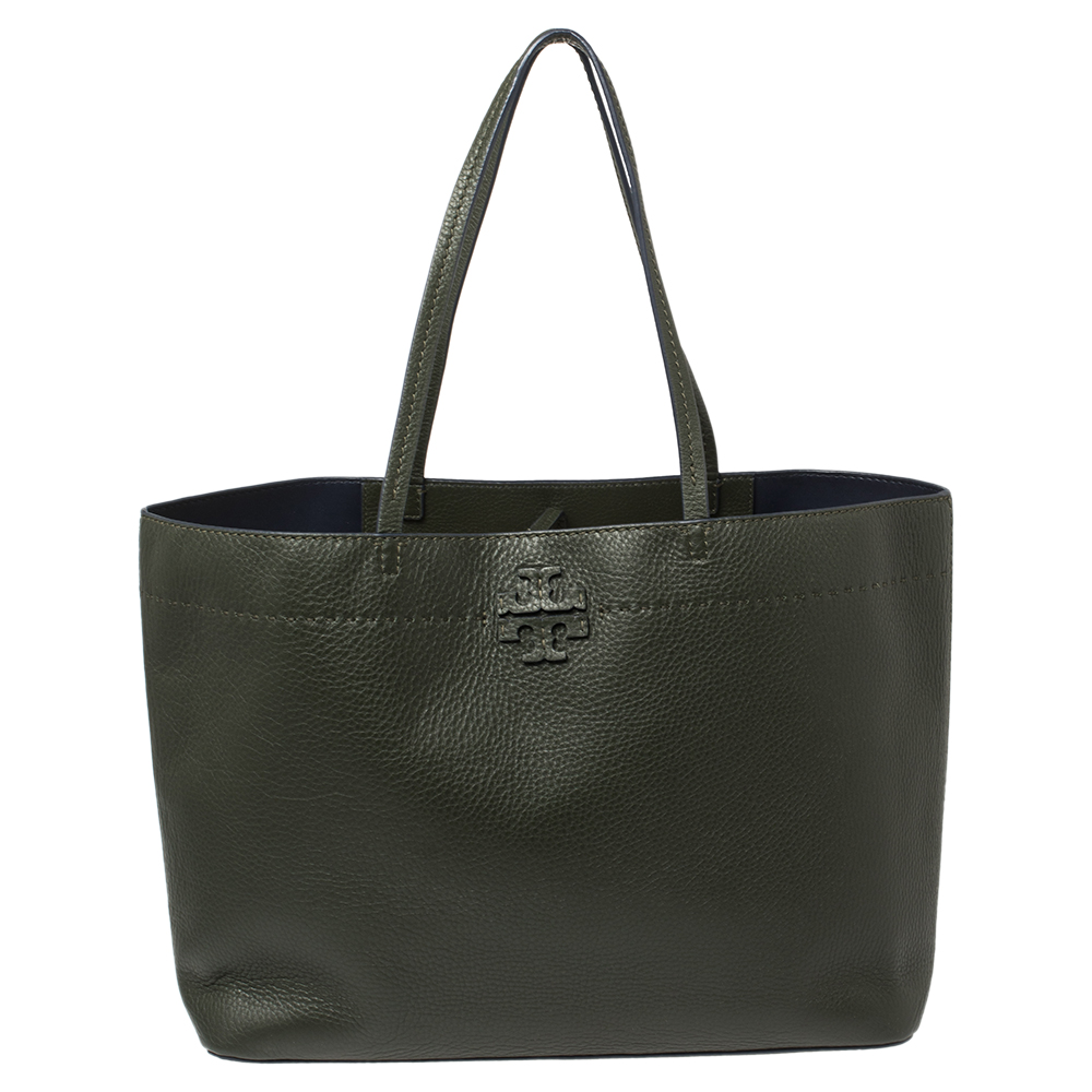 Pre-owned Tory Burch Boxwood Green Grained Leather Mcgraw Tote