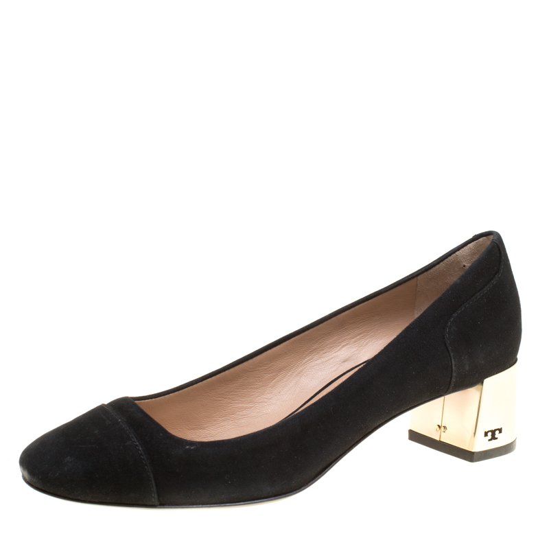 e29d3bb69 Buy Tory Burch Black Suede Evelyn Block Heel Pumps Size 37 153021 at ...
