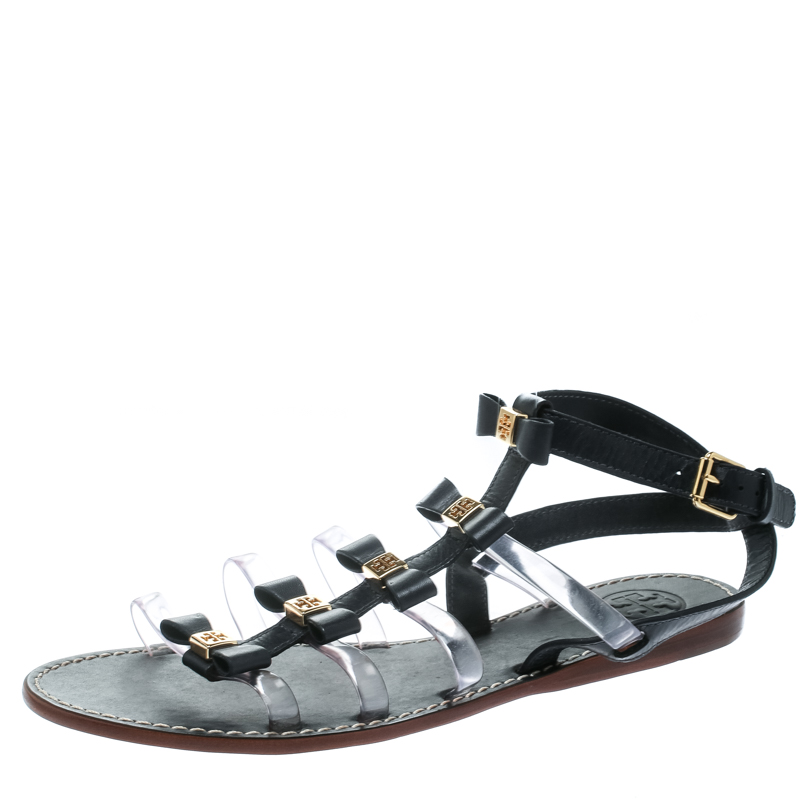 Tory Burch Black Leather and PVC Kira Bow Detail Flat Sandals Size 38