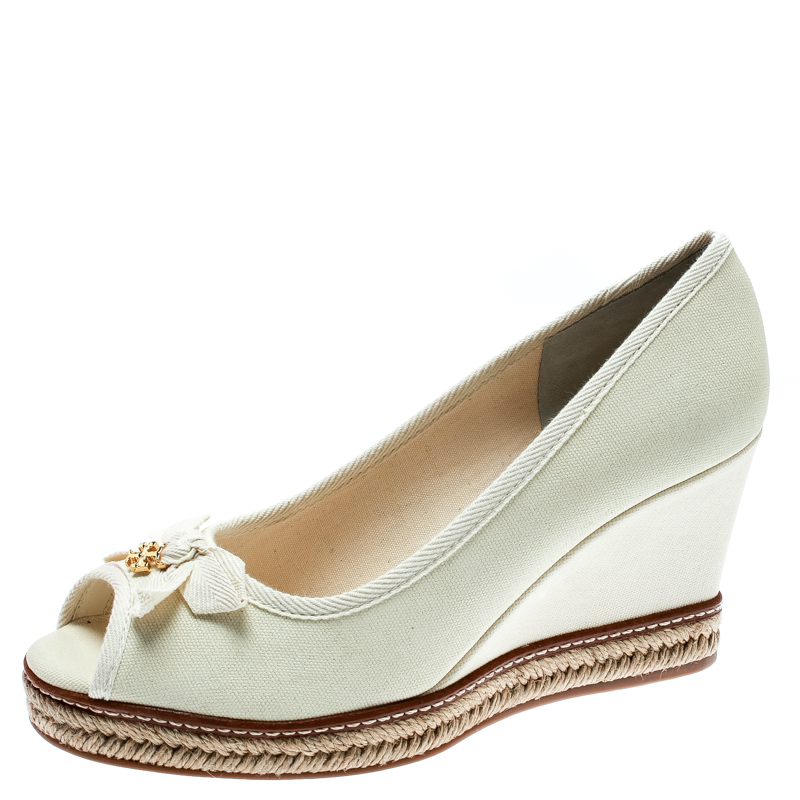 45ef559ec61 ... Tory Burch Ivory Canvas Jackie Espadrille Wedge Pumps Size 37.  nextprev. prevnext