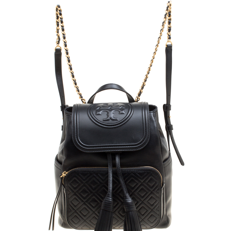 484a650338f Buy Tory Burch Black Leather Fleming Backpack 151932 at best price