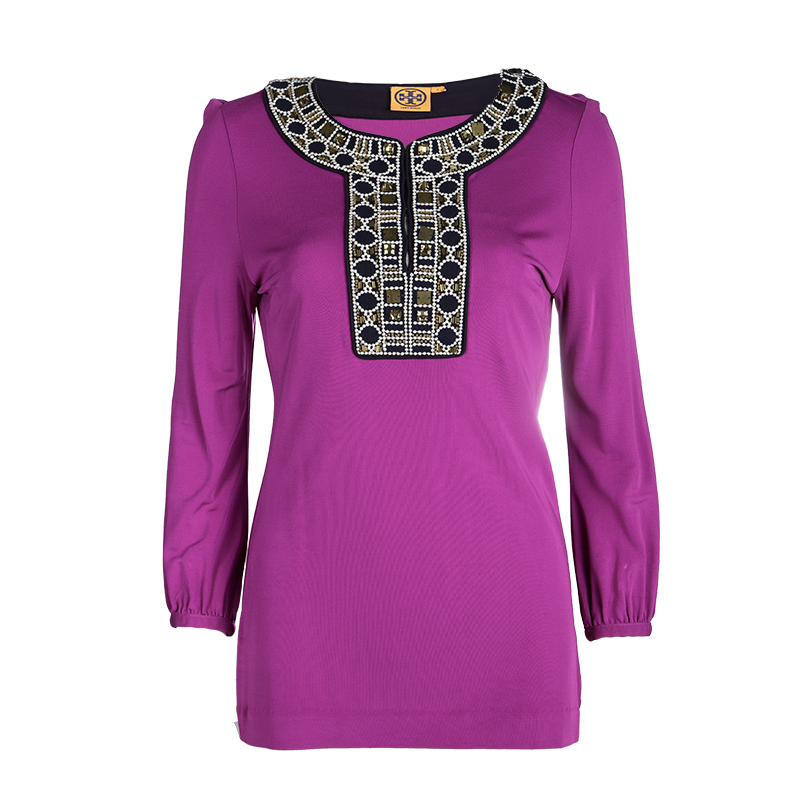 81adbc4cec19 ... Tory Burch Purple Embellished Neck Detail Long Sleeve Top S. nextprev.  prevnext