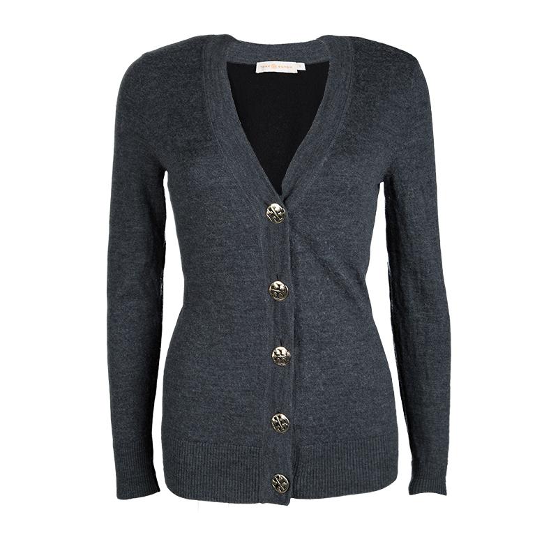 Купить со скидкой Tory Burch Colorblock Merino Wool Logo Button Detail Cardigan S