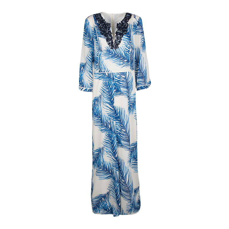 a206e5769339 ... Tory Burch White and Blue Feather Print Sequin Embellished Silk Maxi  Dress L. nextprev. prevnext