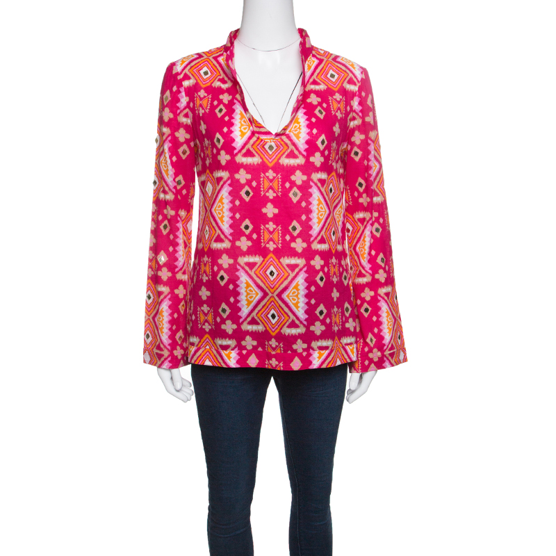c003e11f6945 Buy Tory Burch Pink Printed Cotton Embellished Long Sleeve Top S ...