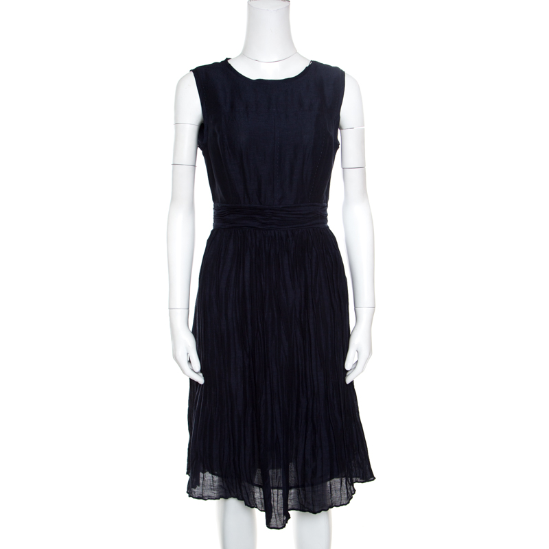 a9d4b3c7 ... Tory Burch Navy Blue Linen and Silk Pleated Sleeveless Hildy Dress S.  nextprev. prevnext