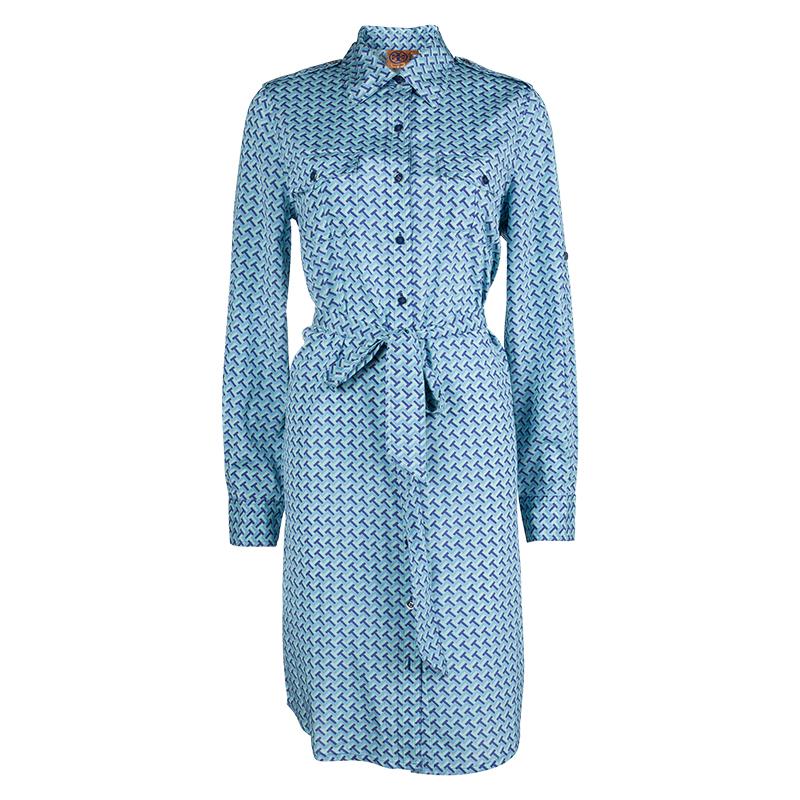 12b9fe98620b Buy Tory Burch Blue Printed Silk Belted Long Sleeve Dress M 62686 at ...