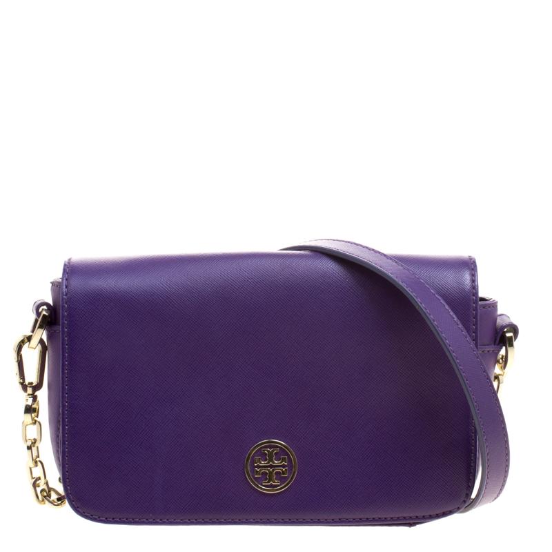 d8732e87c29 ... Tory Burch Purple Leather Mini Robinson Chain Shoulder Bag. nextprev.  prevnext