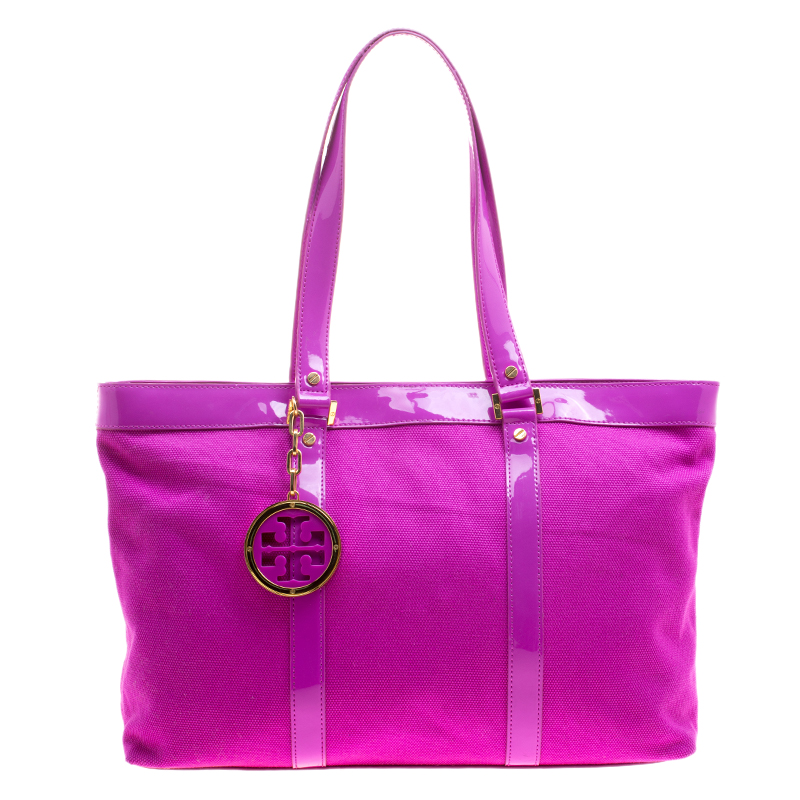1dac75281a6 ... Tory Burch Hot Pink Canvas and Patent Leather Jane Large Tote.  nextprev. prevnext