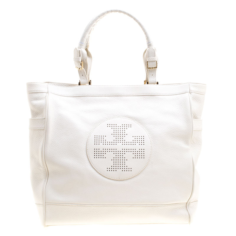 ef0d96251d1 Buy Tory Burch White Leather Tote 126387 at best price