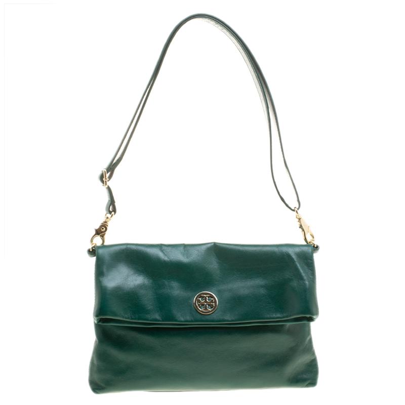 bcf52d29226 ... Tory Burch Green Leather Dena Foldover Crossbody Bag. nextprev. prevnext