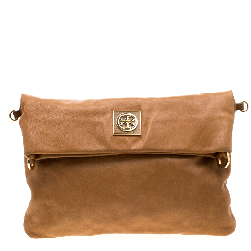 Tory Burch Tan Leather Louisa Fold Over Shoulder Bag
