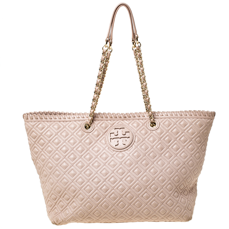 Tory Burch Beige Quilted Leather Marion Tote