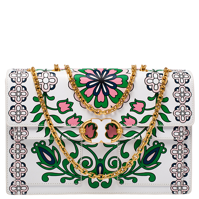 Tory Burch White Printed Leather Chain Shoulder Bag