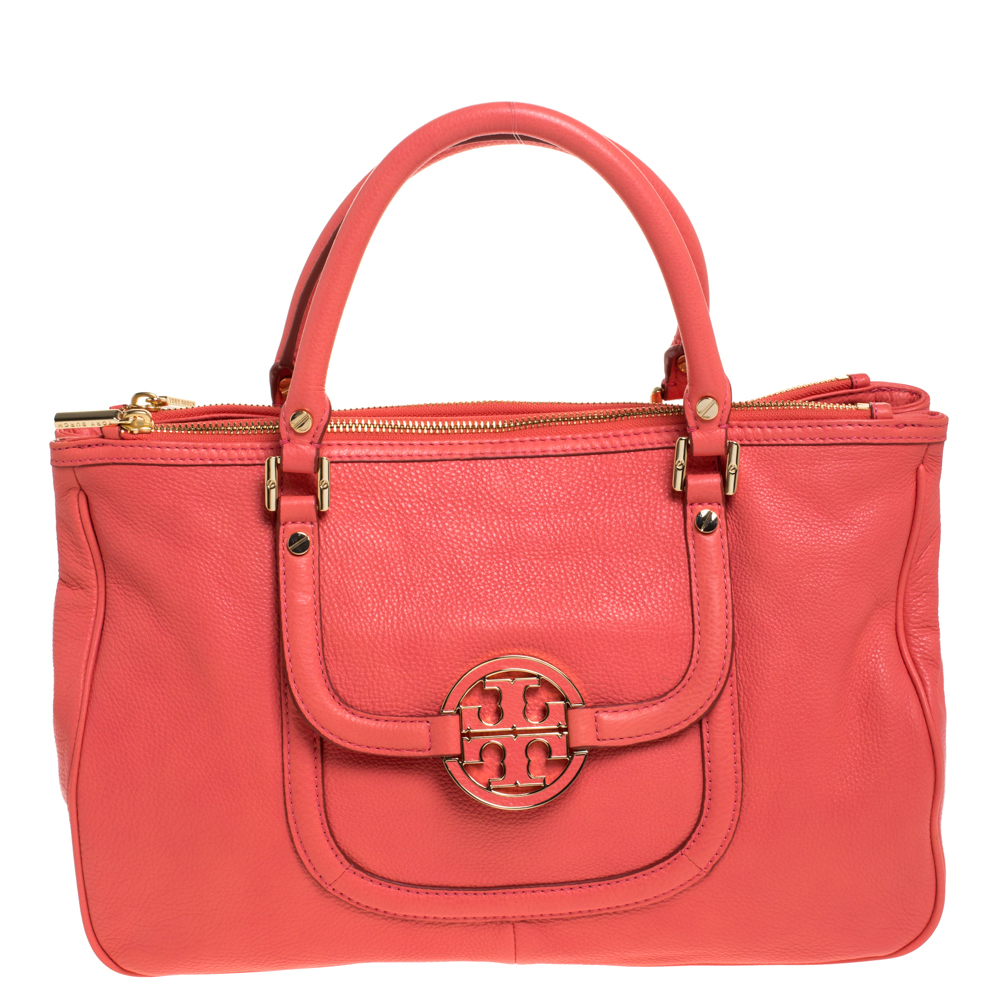 Tory Burch Coral Leather Amanda Double Zip Tote