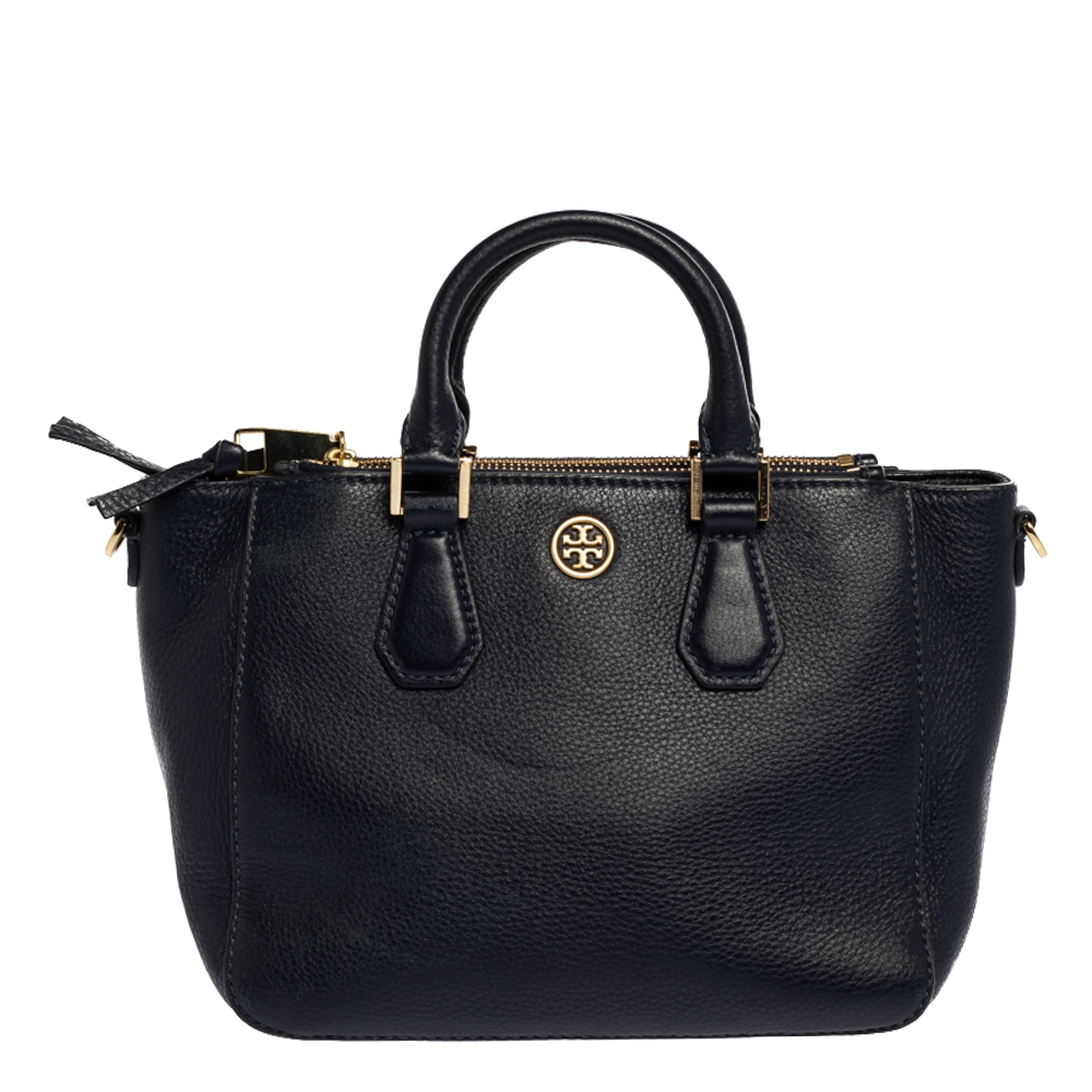 Pre-owned Tory Burch Navy Blue Leather Robinson Double Zip Tote