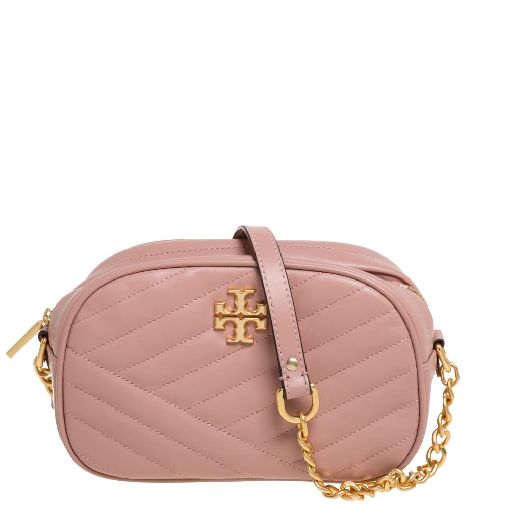 Pre-owned Tory Burch Pink Leather Kira Camera Crossbody Bag