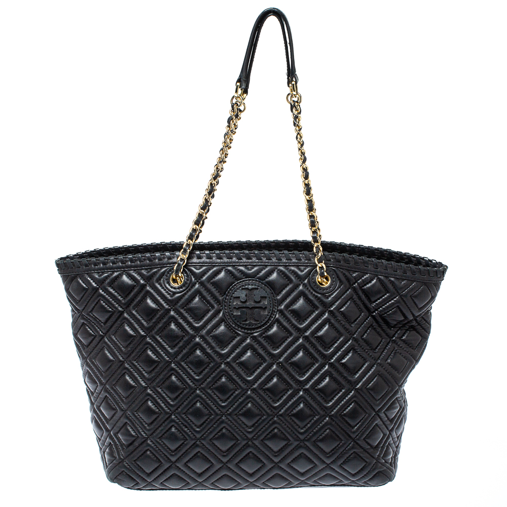 Pre-owned Tory Burch Black Quilted Leather Marion Tote
