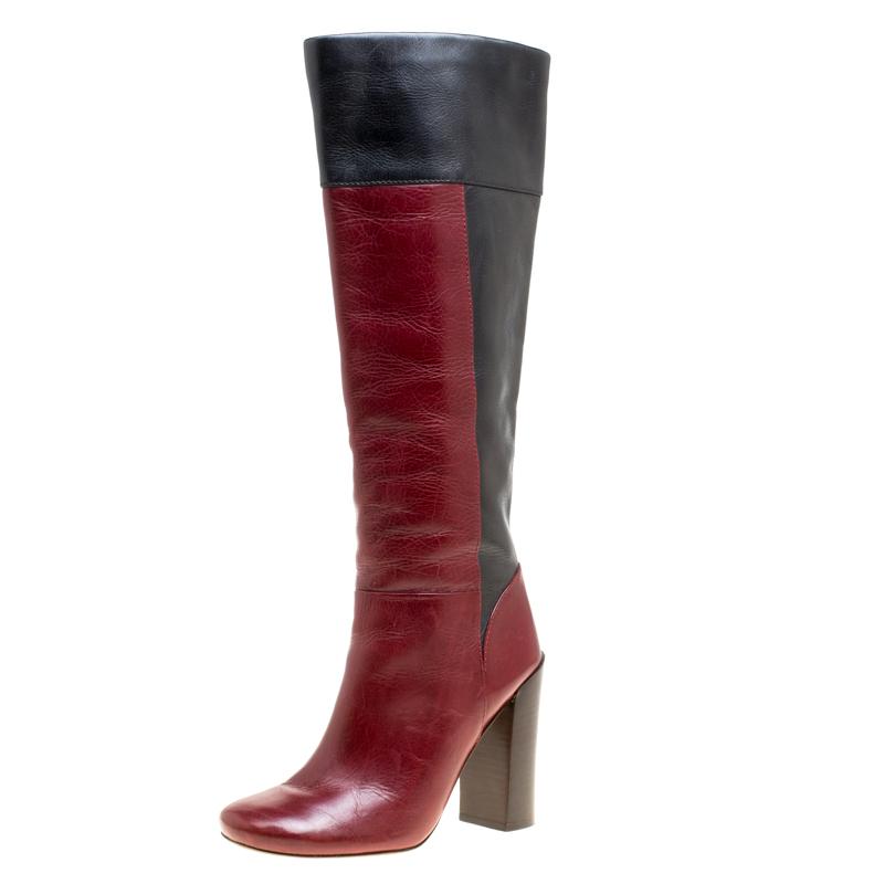 13bd6f3eba54 ... Tory Burch Two Tone Color Block Leather Alicia Mid Calf Boots Size 39.  nextprev. prevnext