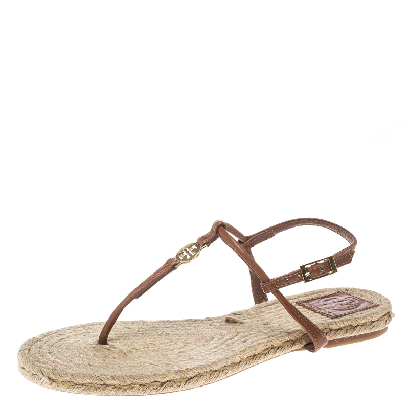 Купить со скидкой Tory Burch Brown Leather Emmy Flat Espadrilles Thong Sandals Size 38