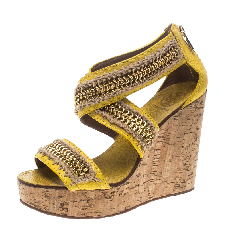 86fe8b0db33 ... Tory Burch Yellow Leather Lucian Chain Embellished Cork Wedge Sandals  Size 38. nextprev. prevnext