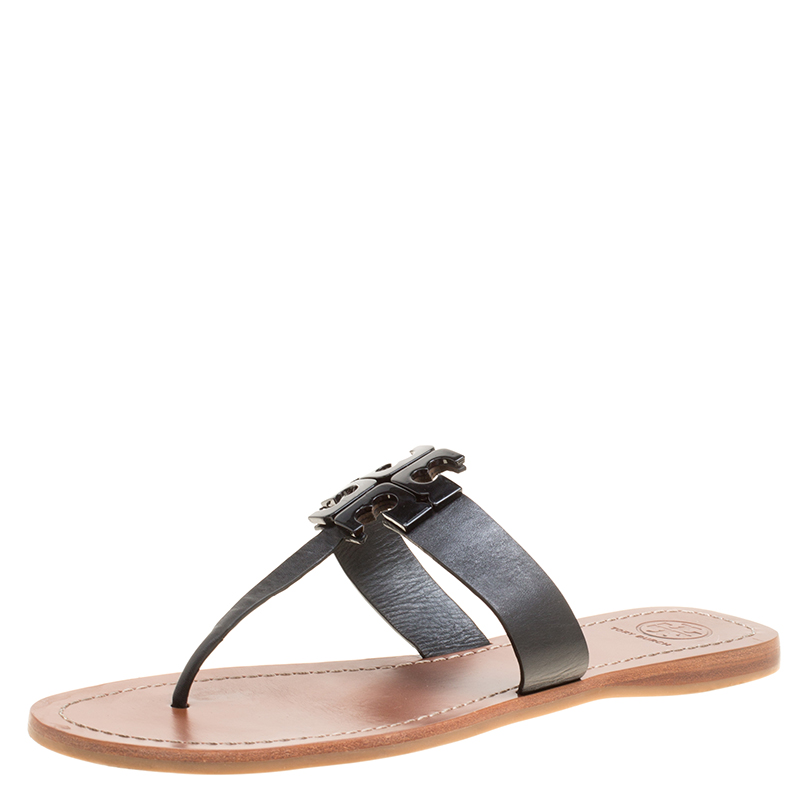a7c6aea9a ... Tory Burch Black Leather Moore Flat Thong Sandals Size 39. nextprev.  prevnext