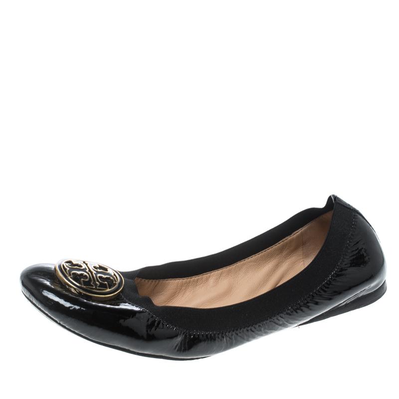 e1f1af406983 ... Tory Burch Black Patent Leather Caroline Ballet Flats Size 39.5.  nextprev. prevnext