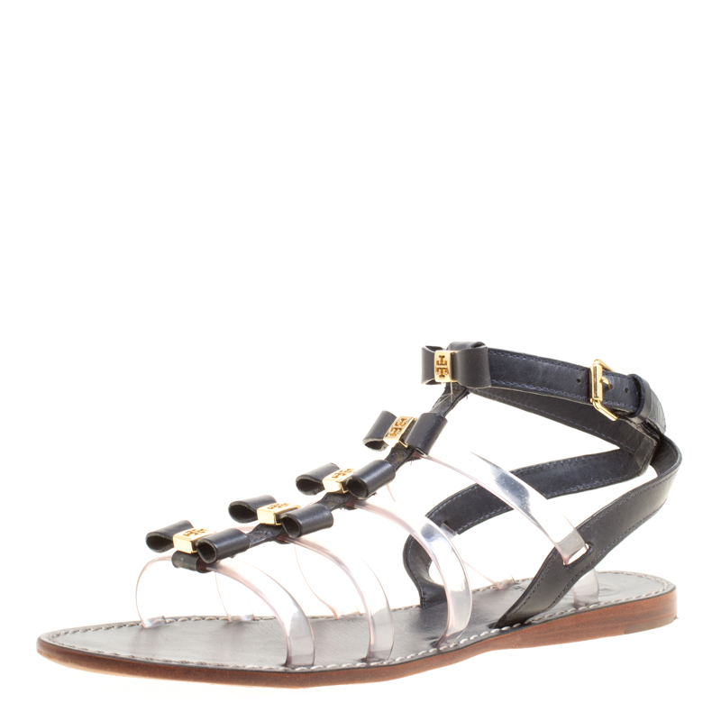 3e25ffedb75c Buy Tory Burch Black Leather and PVC Kira Gladiator Flat Sandals ...