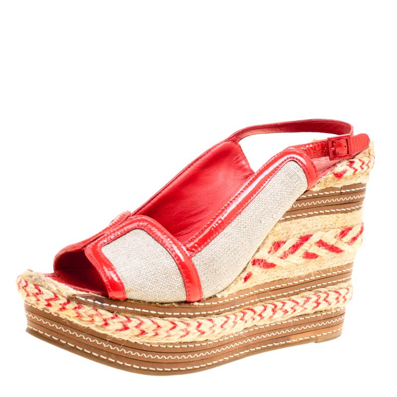 2a83bbbcac8 ... Patent Leather Breacher Slingback Espadrille Wedge Sandals Size 39.5.  nextprev. prevnext