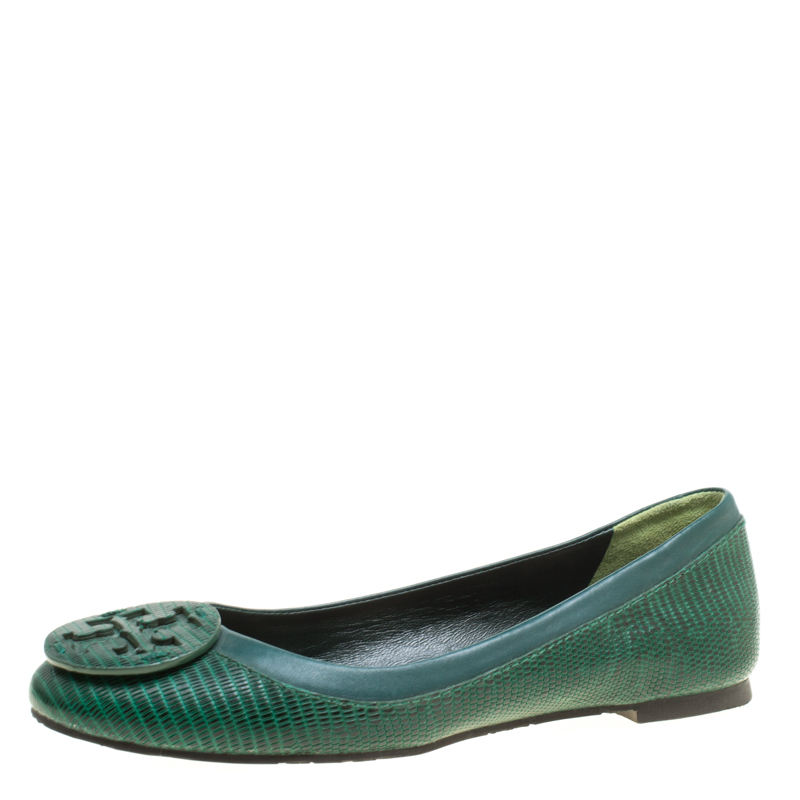 34af098a4 Buy Tory Burch Green Lizard Embossed Leather Reva Ballet Flats Size ...