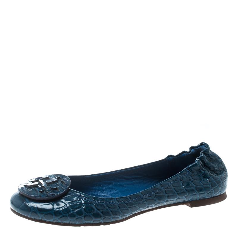 7b7fdcf40 ... Tory Burch Blue Patent Croc Embossed Leather Reva Scrunch Ballet Flats  Size 38.5. nextprev. prevnext