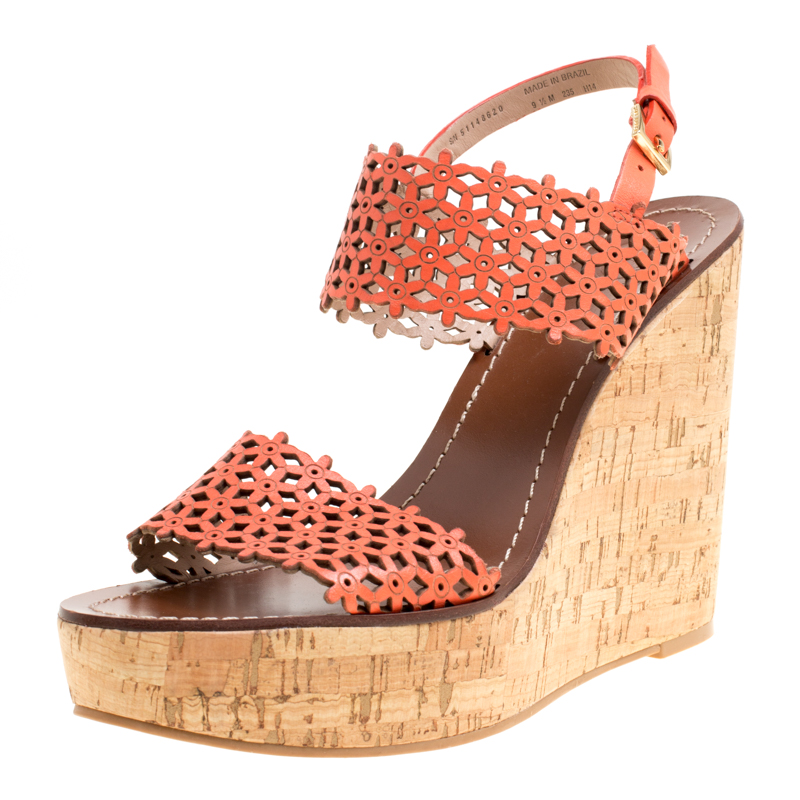 c9defd441 ... Tory Burch Coral Red Perforated Leather Daisy Cork Wedge Sandals Size  39.5. nextprev. prevnext