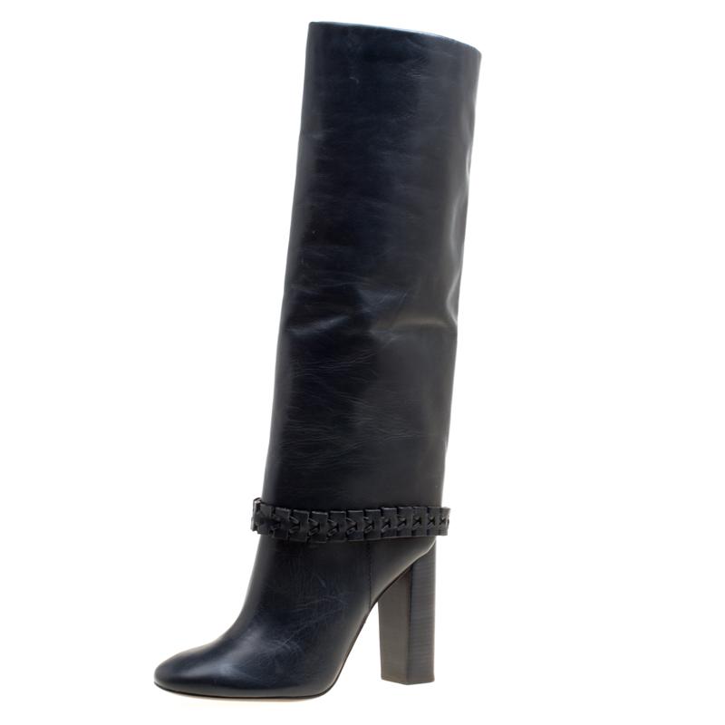 b5479b7e4475 ... Tory Burch Dark Blue Leather Sarava Braid Detail Knee Boots Size 40.  nextprev. prevnext