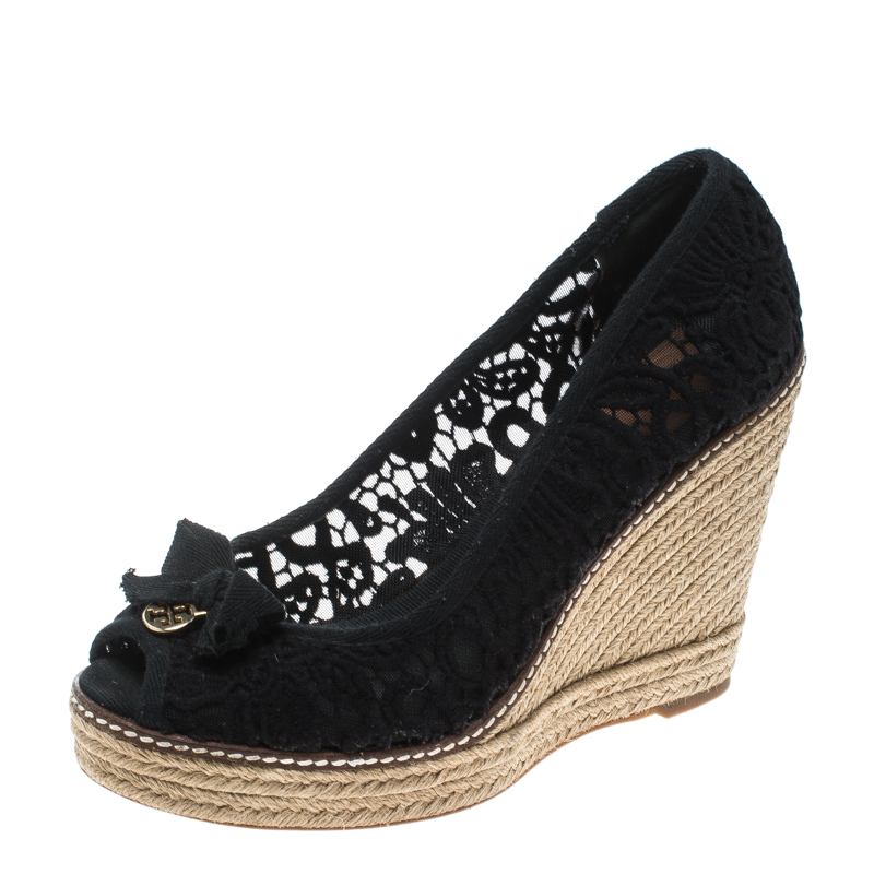 07a365d40 ... Tory Burch Black Crochet Jackie Peep Toe Platform Wedge Sandals Size  39.5. nextprev. prevnext