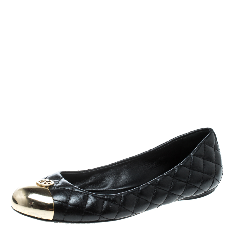 583c629d3 ... Tory Burch Black Quilted Leather Kaitlin Metal Cap Toe Ballet Flats  Size 37. nextprev. prevnext