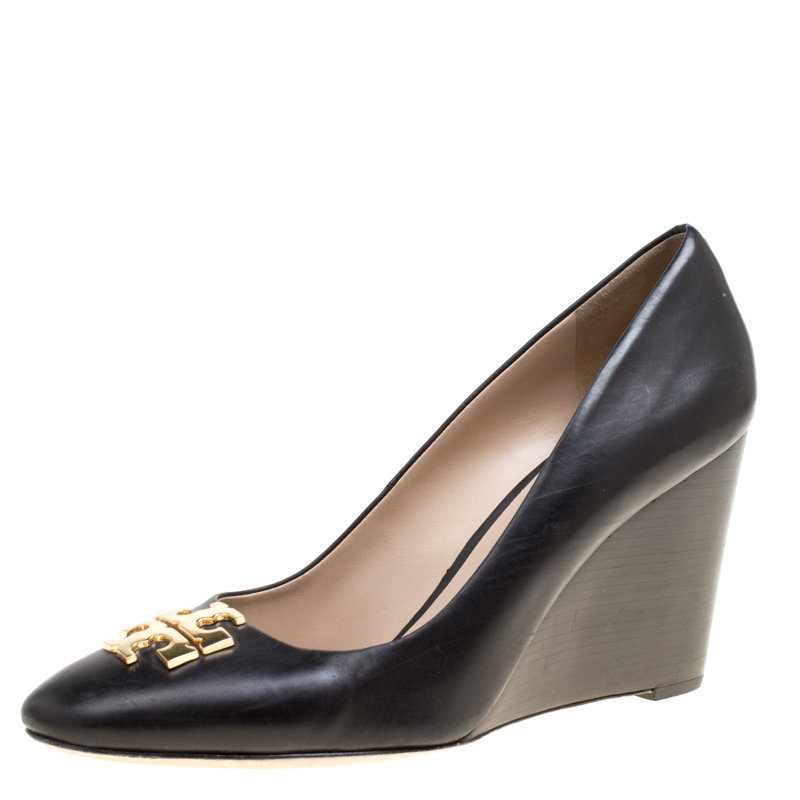 97d59bf506c0 Buy Tory Burch Black Leather Raleigh Round Toe Wedge Pumps Size 41 ...