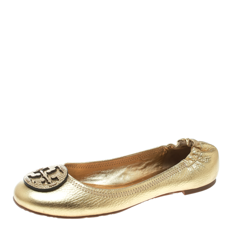 9a316dc39f5a6d ... Tory Burch Metallic Gold Leather Minnie Scrunch Ballet Flats Size 38.  nextprev. prevnext