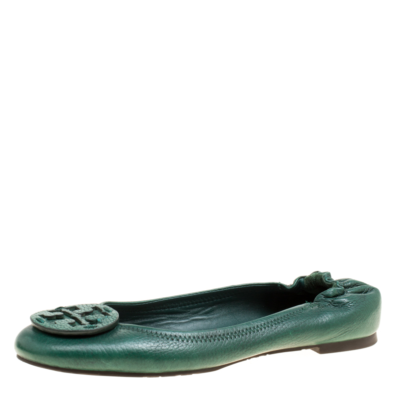 1cedb44c5 Buy Tory Burch Green Leather Minnie Scrunch Ballet Flats Size 38.5 ...