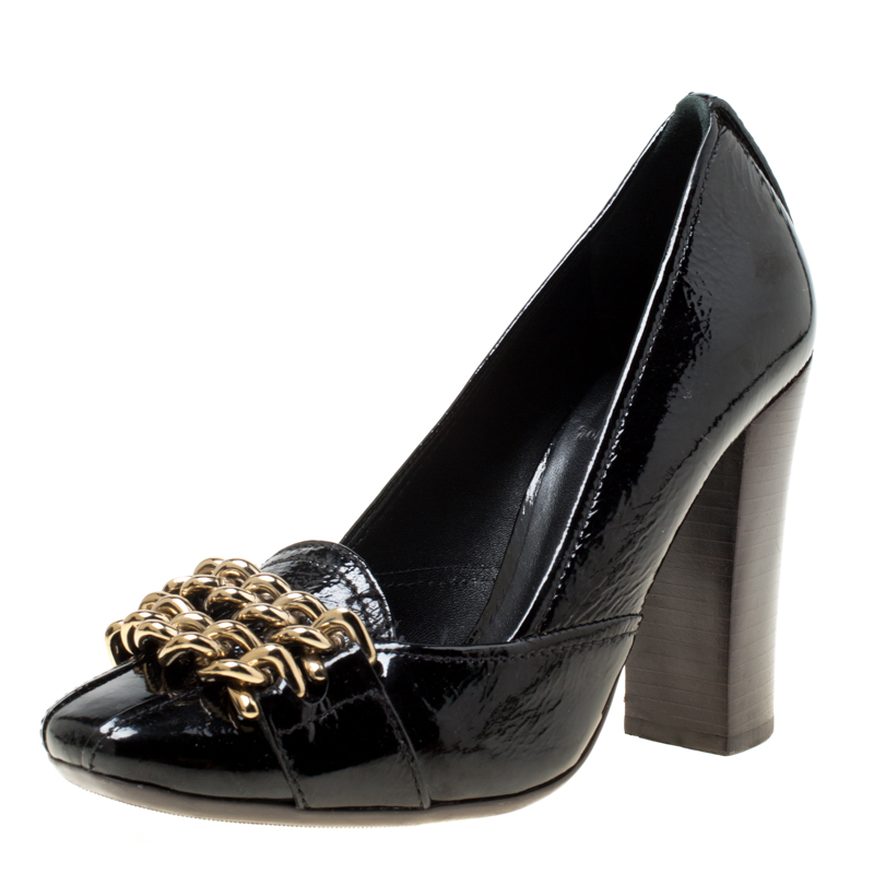 d6771689d Buy Tory Burch Black Patent Leather Hana Metal Chain Pumps Size 35.5 ...