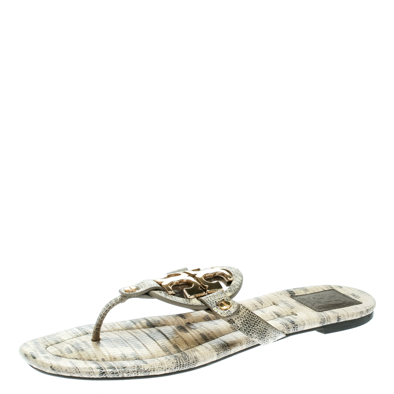93bbd5640 Buy Tory Burch Beige Lizard Leather Miller Flat Thong Sandals Size ...