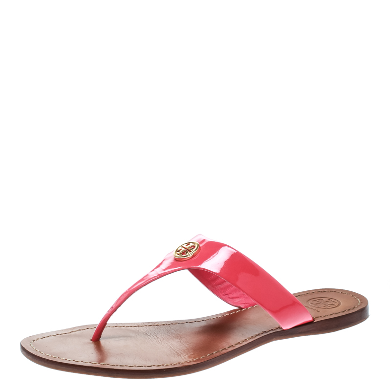 833288297 ... Tory Burch Bougainvillea Pink Patent Leather Cameron Flat Thong Sandals  Size 39. nextprev. prevnext