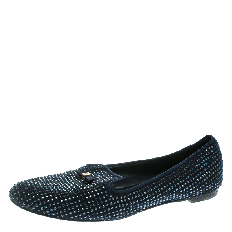 56e60ee07627 ... Tory Burch Blue Crystal Embellished Suede Chandra Smoking Loafer Flats  Size 36. nextprev. prevnext