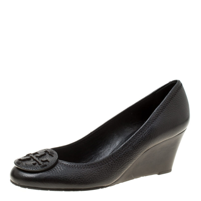 4ea453f4d795 ... Tory Burch Black Leather Sally Wedge Pumps Size 38.5. nextprev. prevnext
