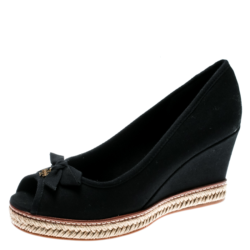 c87dc95cea02 ... Tory Burch Black Canvas Jackie Espadrille Wedge Pumps Size 40.  nextprev. prevnext