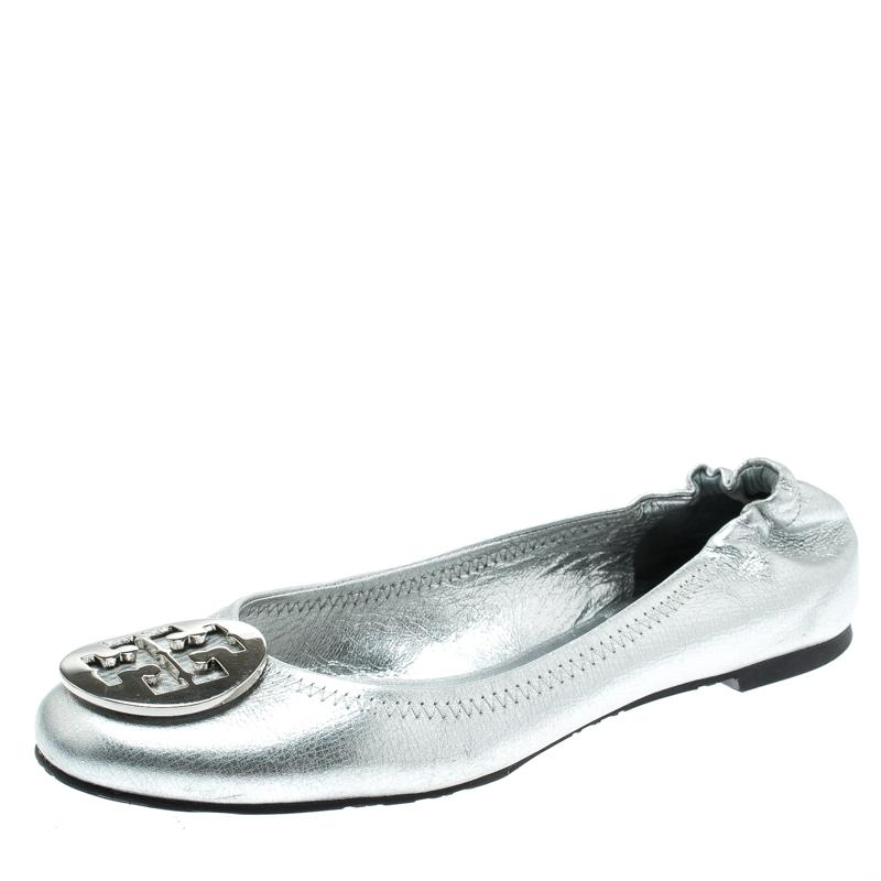 Tory Burch Metallic Silver Leather Reva